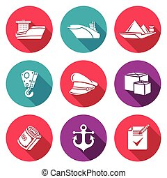 Sea craft Icons Set. Vector Illustration. - Isolated Flat...