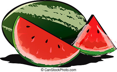 Water melon - Illustration of water melon and glass of juice...