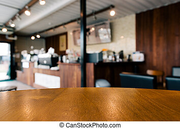 table blank space in coffee shop