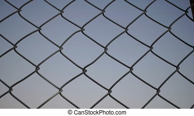 Hands Grabbing Chain Link Fence - Close up evening or dusk...