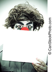 Surprise Birthday Clown Holding Sign - Surprise Birthday...
