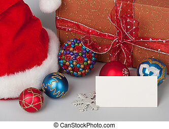 Christmas background Decorations, santa hat and gift box