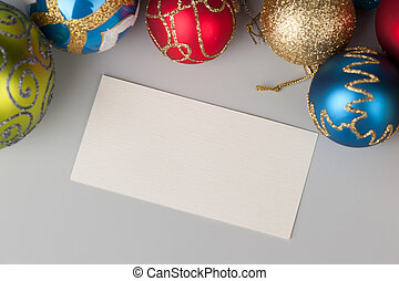 Christmas background with decorations and blank card