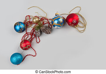 Christmas background - Christmas still life Decorations on...