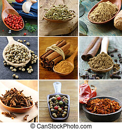 collage of various spices