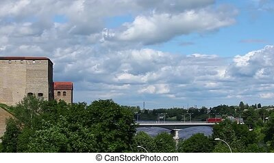 Narva castle panorama - Hermann Castle medieval castle in...