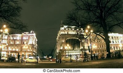 St Petersburg at night time lapse - St Petersburg, Russia...