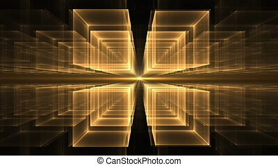 Cubes Rotating in Perspective - Dynamic yellow translucent...