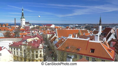 View to the old Tallinn, Estonia - City panorama of Tallinn,...