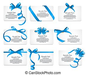Card with Blue Ribbon and Bow Set. Vector illustration