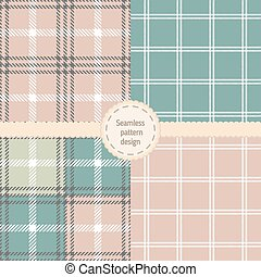 Set of seamless checkered vector pa