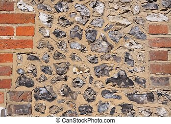 Brick and flint wall - Example of the brick and flint...