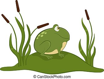 Green frog. - Green frog cartoon sitting on the grass.
