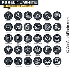 Thin line web icons collection