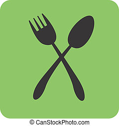 Spoon and fork - Illustration of silhouette of spoon and...