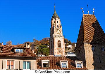 Merano - Bolzano Trentino Italy - Detail of the bell tower...