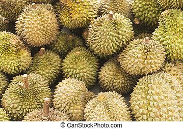 Asiático, durian, fruta, em, kep, cambodia, mercado,
