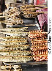 Asiático, grelhados, barbecued, marisco, em, kep,...