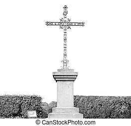 grass abstract sacred cross in italy europe and the sky...
