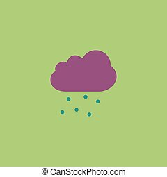 Cloud with hail Colorful vector icon Simple retro color...
