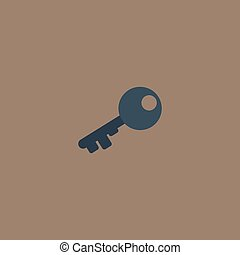Old key silhouette isolated - Old key silhouette Colorful...