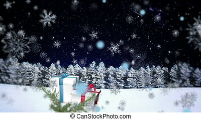 3D Snowflakes Falling on Christmas background 1 - Christmas...