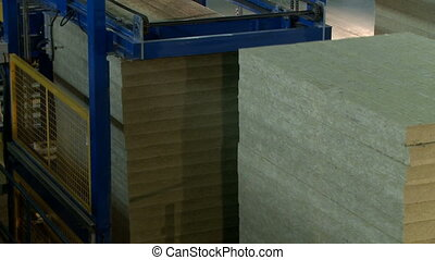 Wooden beams for production of sandwich panels, close-up