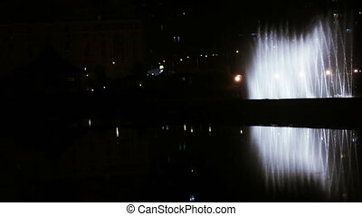 Dancing fountain at night - Shooting night dancing fountain...