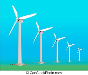 Wind Turbine landscape illustration. Wind energie.