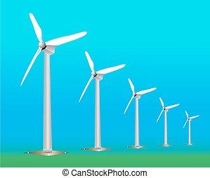Wind Turbine landscape illustration. Wind energie.