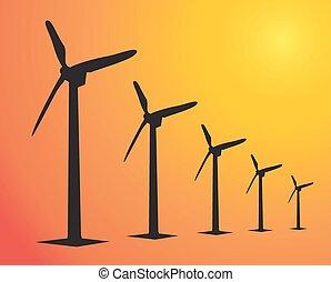 Wind Turbine landscape illustration. Wind energie..in sunset