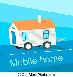 Mobile Home Flat Design Banner - Mobile home flat design...