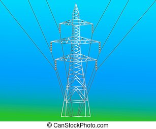 high voltage electric line against blue sky