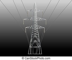 high voltage electric line against at night