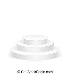 Empty white round podium isolated on white background