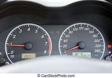 car Mileage - Dashboard of a car with a high mileage