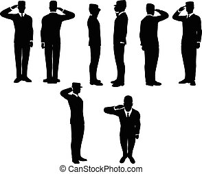 businessman silhouette wih army cap in saluting pose...