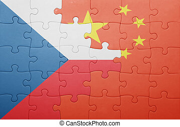 puzzle with the national flag of  czech republic and china