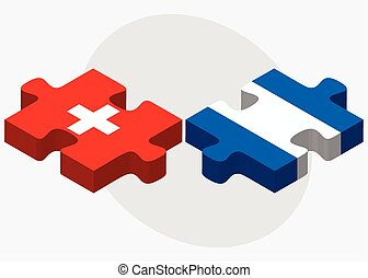 Switzerland and Nicaragua Flags in puzzle isolated on white...