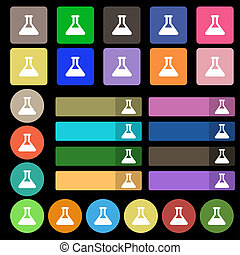 Conical Flask icon sign Set from twenty seven multicolored...