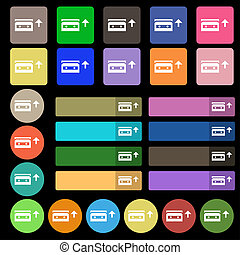 audio cassette icon sign Set from twenty seven multicolored...