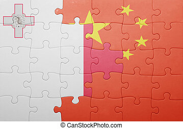 puzzle with the national flag of malta and china