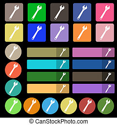 wrench icon sign Set from twenty seven multicolored flat...