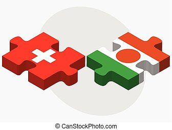 Switzerland and Niger Flags in puzzle isolated on white...