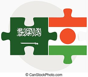 Saudi Arabia and Niger Flags in puzzle isolated on white...
