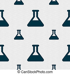 Conical Flask icon sign Seamless pattern with geometric...
