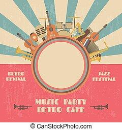 poster - grunge jazz festival poster, retro revival