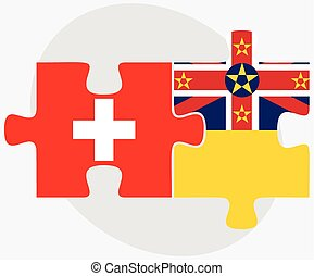 Switzerland and Niue Flags in puzzle isolated on white...