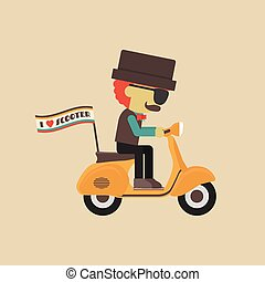 scooter - classic motorcycle, retro vehicle with hipster