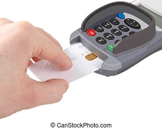 Chip card - Someone inserting a debit-/credit-card with chip...